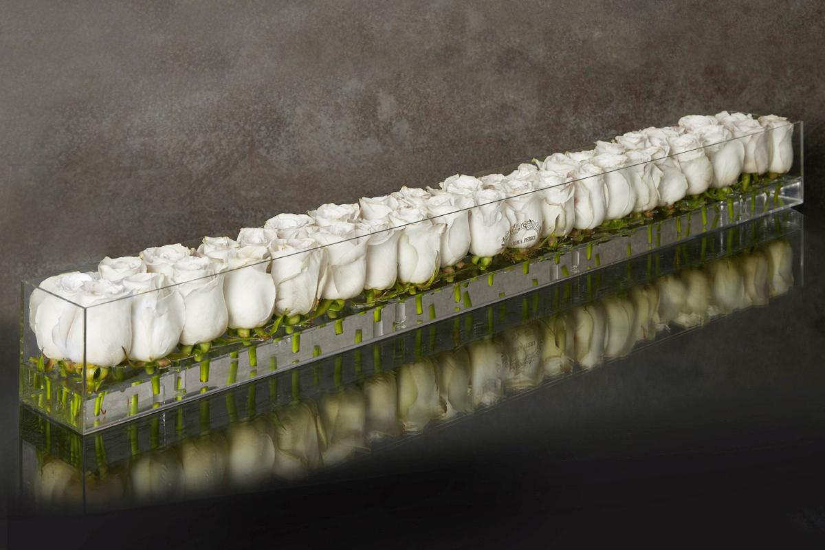 40 fresh earl grey roses in Large Acrylic Clear Long Box