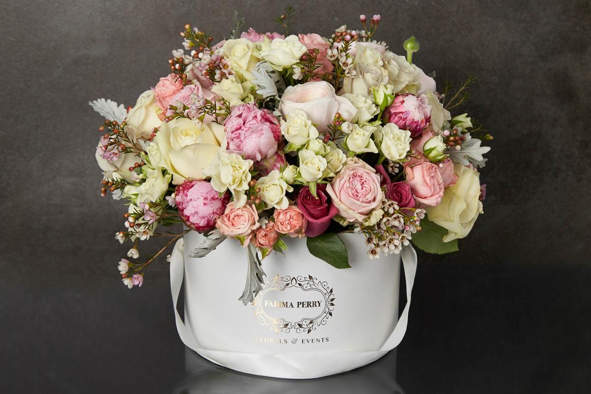 Large white round luxurious flower box farima perry florals events large white round luxurious flower box mightylinksfo