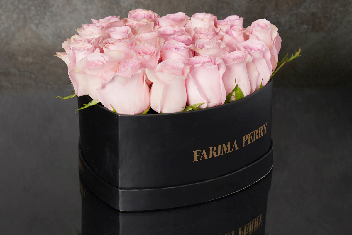 Pink roses in signature black heart flower box farima perry pink roses in signature black heart flower box mightylinksfo