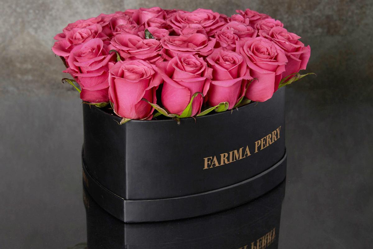 Raspberry Roses in signature Black Heart Flower Box