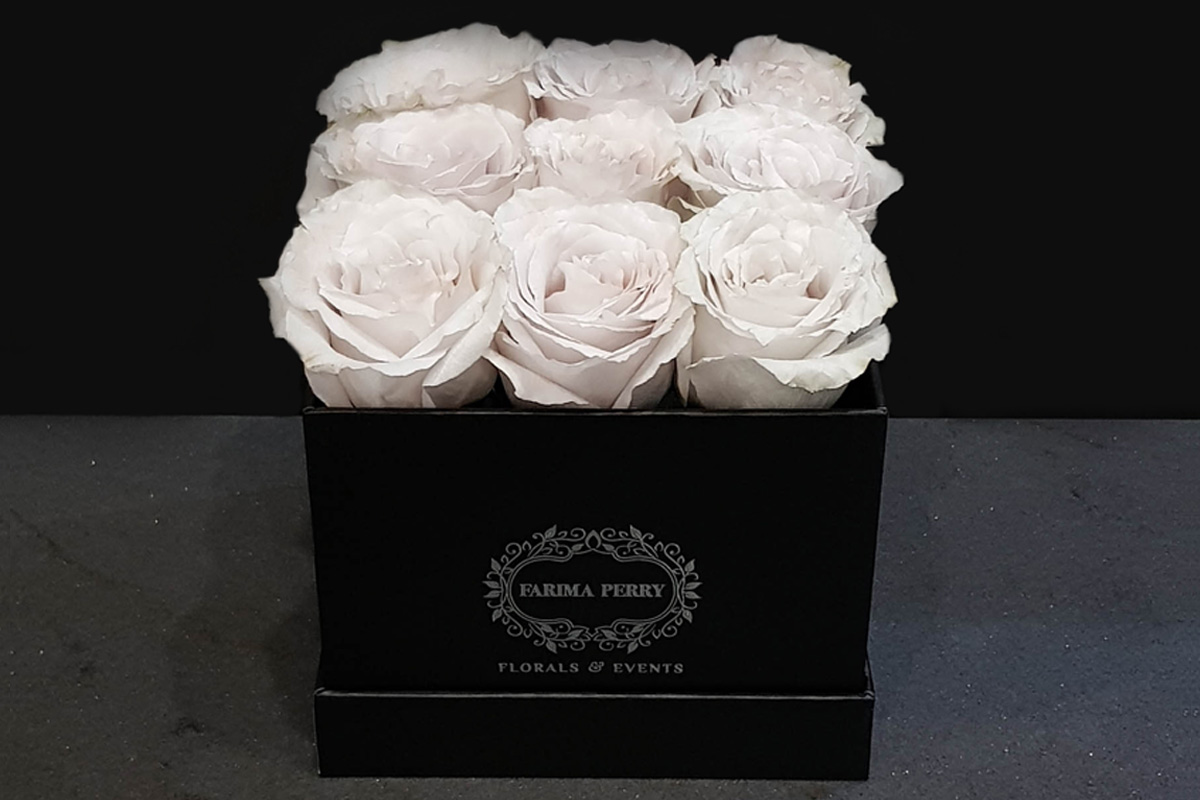 Roses In Small Square Flower Box Farima Perry Florals Events