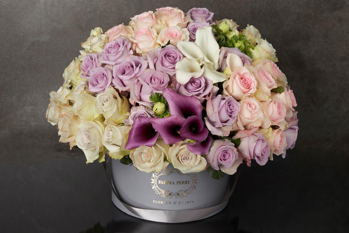 Super deluxe grey round flower box farima perry florals events super deluxe grey round flower box mightylinksfo