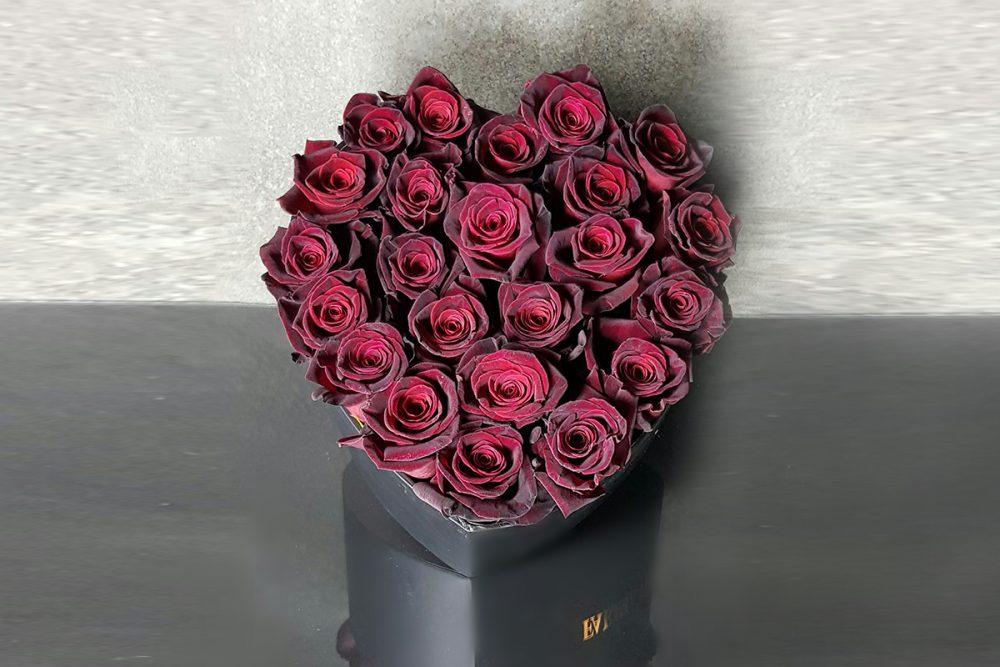 DARK RED ROSES IN SIGNATURE BLACK HEART FLOWER BOX