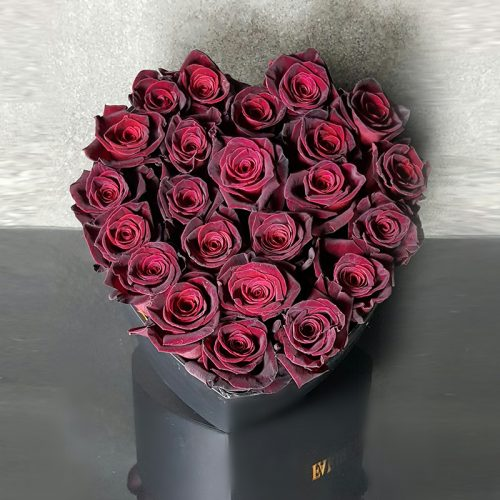 DARK RED ROSES IN SIGNATURE BLACK HEART FLOWER BOX