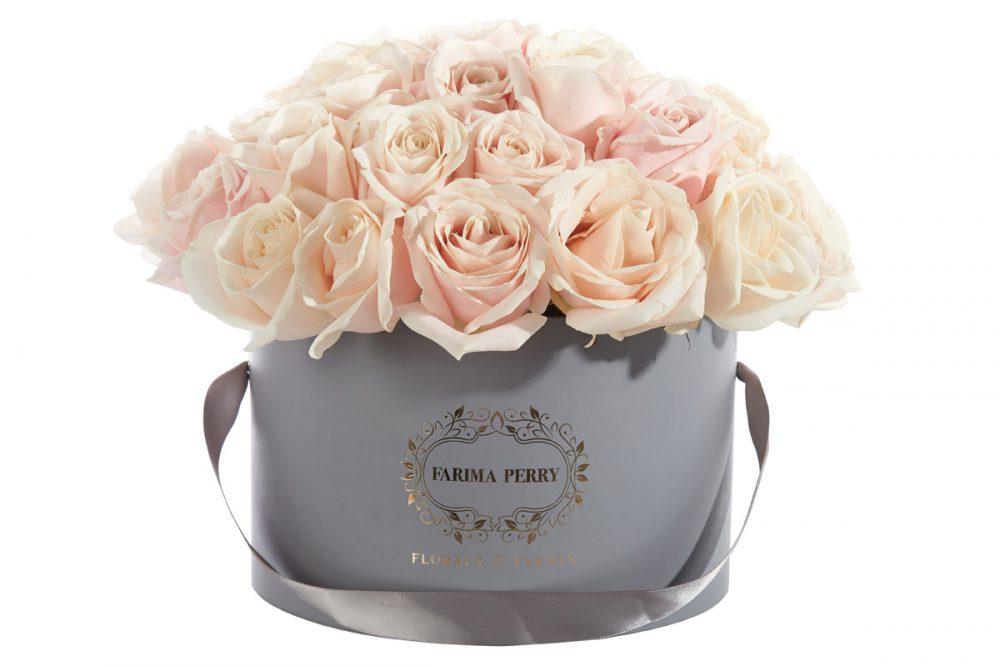 Large Grey Round Flower Box
