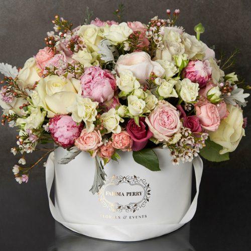 Large White Round Luxurious Flower Box