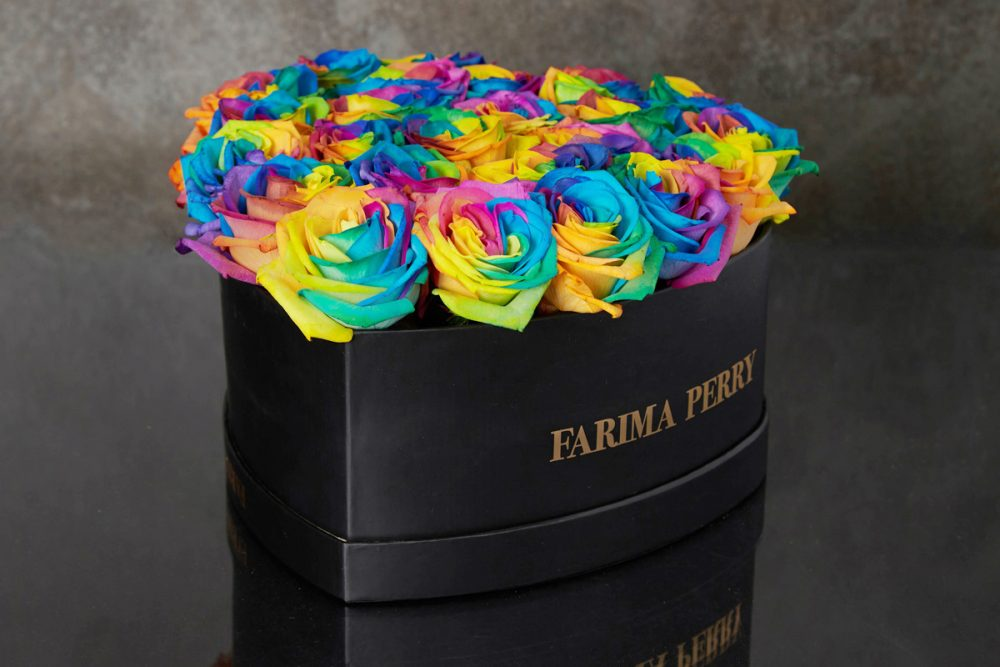 Rainbow Roses in signature Black Heart Flower Box
