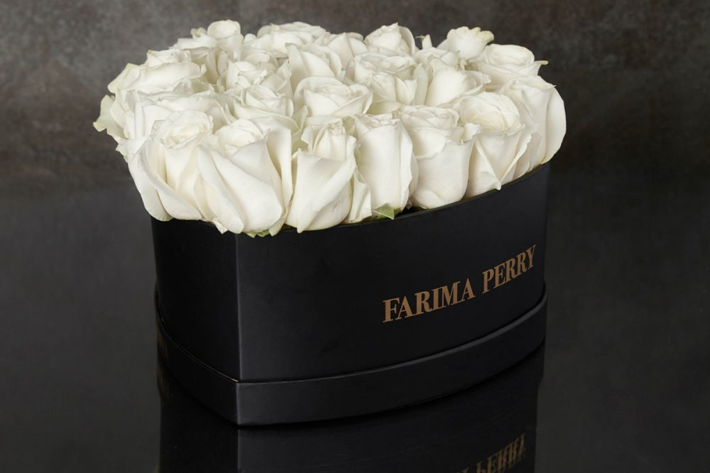White Roses in signature Black Heart Flower Box